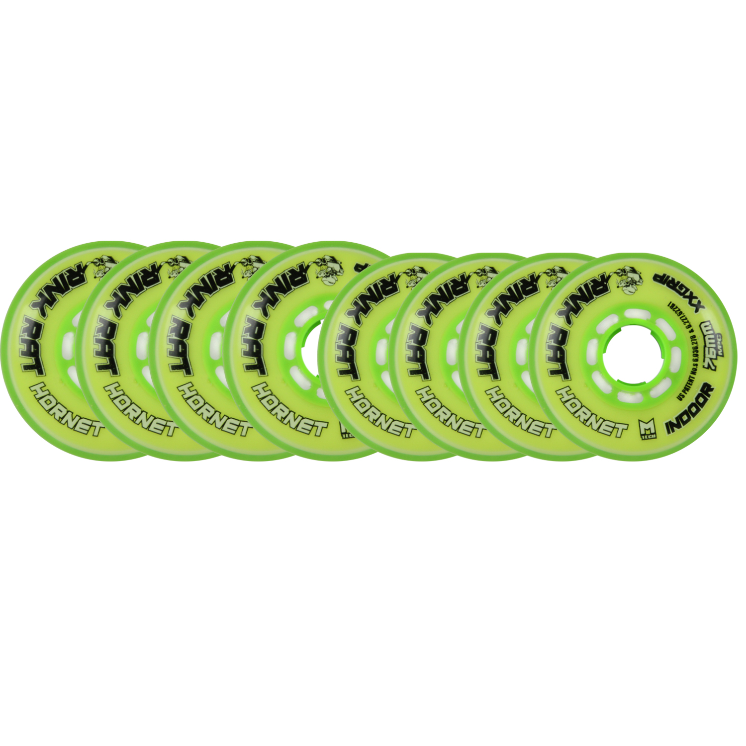 RINK RAT Wheels 80mm   76mm HILO 78a HORNET Yellow Green Inline Indoor Hockey by
