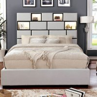 Queen Size Bed w LED Light HB USB Outlet Padded Fabric Beige Contemporary Bedroom Comfort Dazzling Bed
