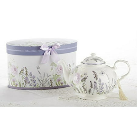 delton products porcelain tea pot, lavender and rose pattern, arrives in matching keepsake box