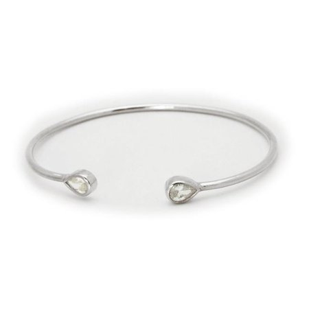 Fronay JE6107 Pear CZ Ends Silver Open Cuff Bangle - image 1 de 1