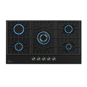 """Empava 30"""" Gas Stove Cooktop with 5 Italy Sabaf Sealed Burners NG/LPG Convertible(30GC26) in Black Tempered Glass"""