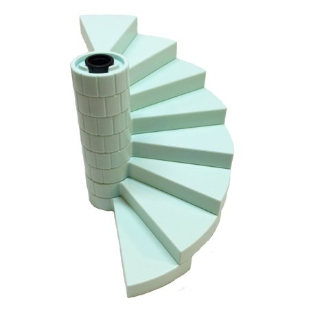 Lego Parts: Elsa's Sparkling Ice Castle Staircase Bundle - (1) Black - Support Axle 1 x 1 x 5 1/3 and (8) Light Aqua - Spiral Steps ()