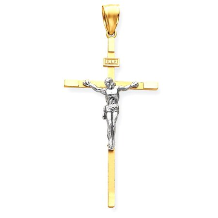 14kt Two Tone Yellow Gold Crucifix Cross Religious Pendant Charm Necklace Inri Latin Fine Jewelry Ideal Gifts For Women Gift Set From