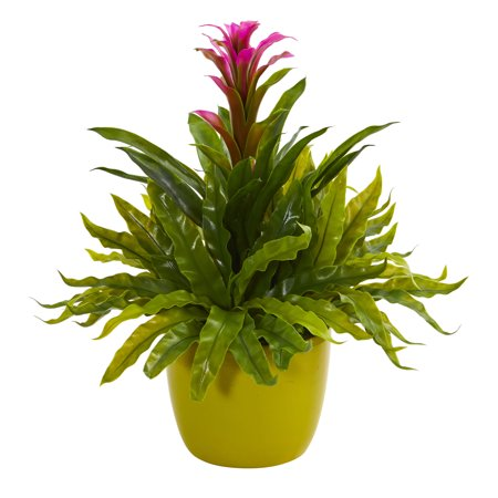 Nearly Natural Bromeliad and Fern Artificial Plant in Green Vase ()