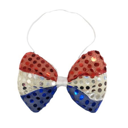 Light Up Flashing LED Sequin Bow Tie American Flag Design Shiny Sequin Red-White-Blue](Led Necktie)