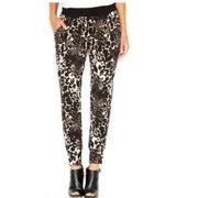 kensie Women's Cheetah Print Drawstring Pants (S, Chai Combo)