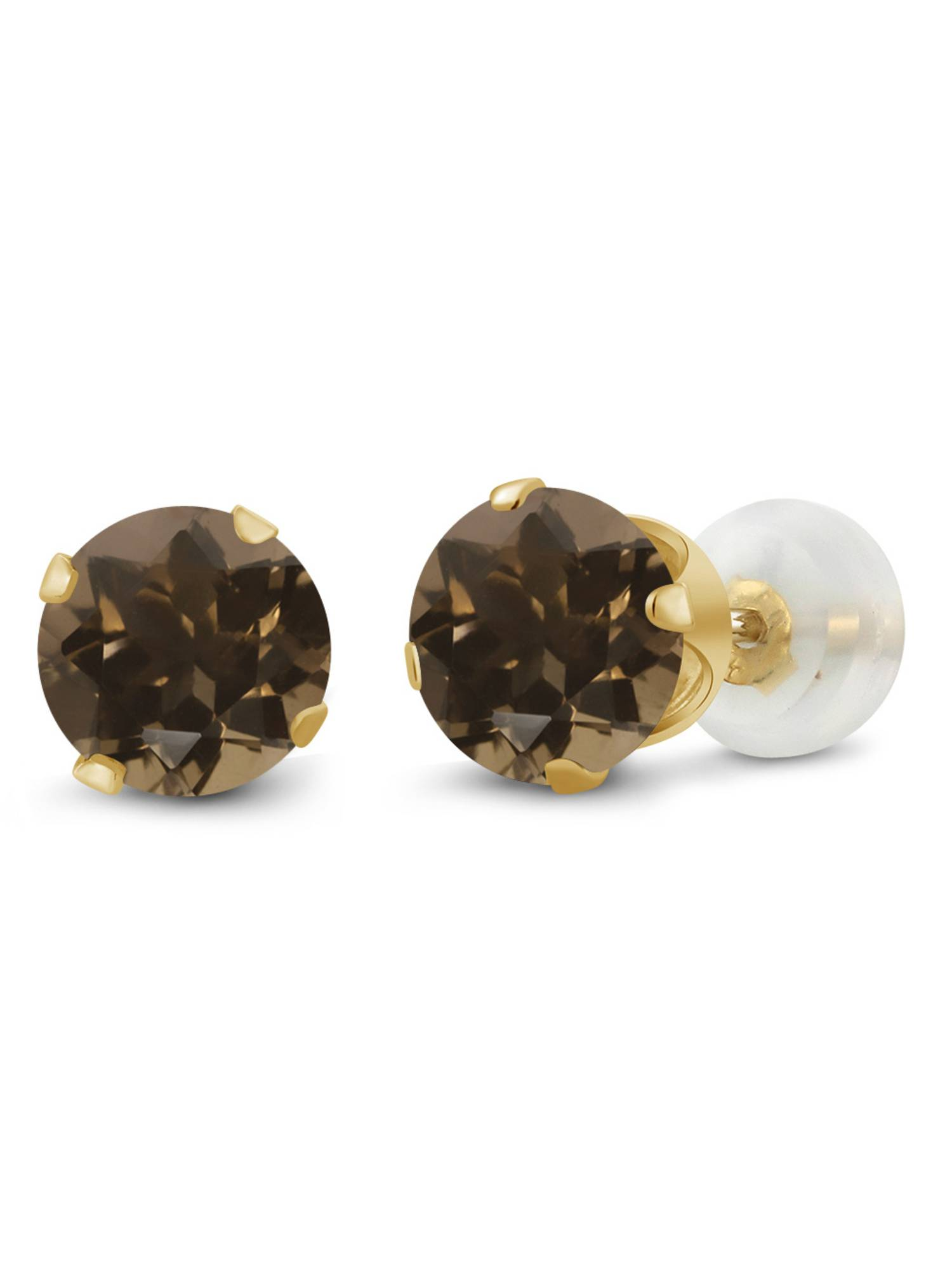 1.60 Ct Round 6mm Brown Smoky Quartz 10K Yellow Gold Stud Earrings