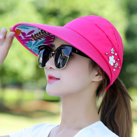 Womens Lady Visor Hat Summer Sun Beach Ladies Foldable Roll Up Wide Brim Cap (Roll Caps)