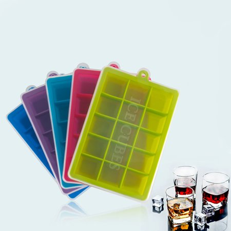 15-Hole Food Grade Silicone Ice Cube Mold Whisky Ice Tray with Lid Square-shape DIY Ice