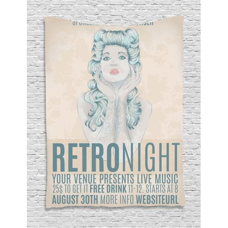 Indie Tapestry, Retro Night Theme Poster Design Attractive Woman with Old Fashioned Hair Style, Wall Hanging for Bedroom Living Room Dorm Decor, 40W X 60L Inches, Tan Slate Blue, by - Old Lady Hair