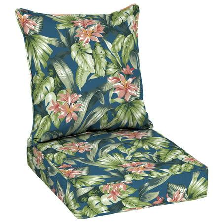 Better Homes & Gardens Teal Breezy Tropical 48u0022L x 24u0022W Outdoor Patio Deep Seating Cushion Set