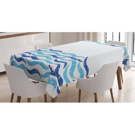 Modern Tablecloth  Abstract Old Ocean Life Yatcht Sea Lake Navy Waves Geometrical Image  Rectangular Table Cover For Dining Room Kitchen  60 X 84 Inches  Navy Blue Turquoise White  By Ambesonne
