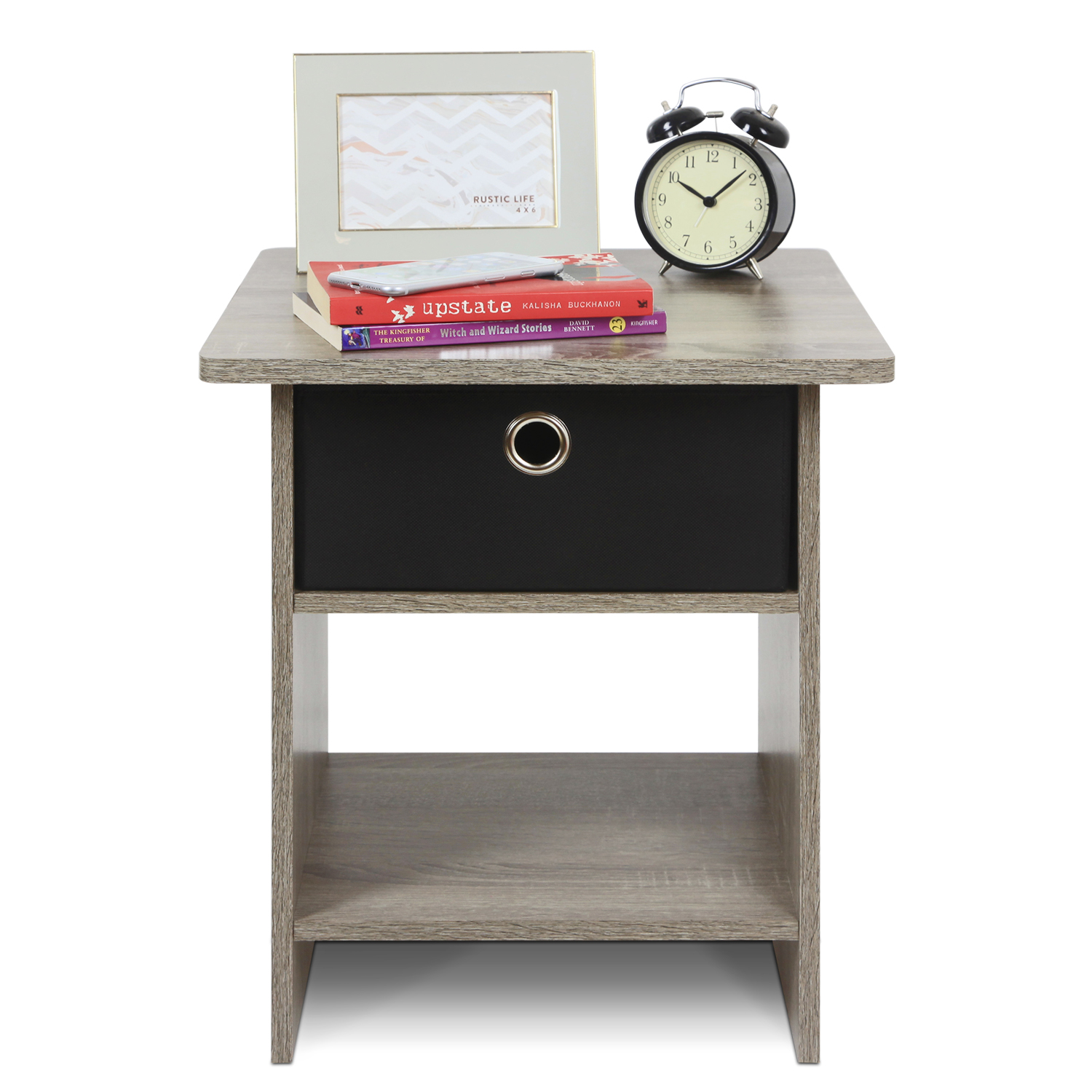 Furinno 10004 End Table  Nightstand Storage Shelf with Bin Drawer by Furinno