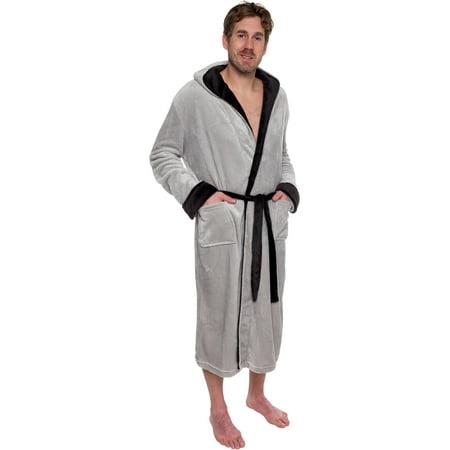 523e1c536f Ross Michaels - Mens Hooded Two Tone Plush Kimono Bathrobe Robe -  Walmart.com