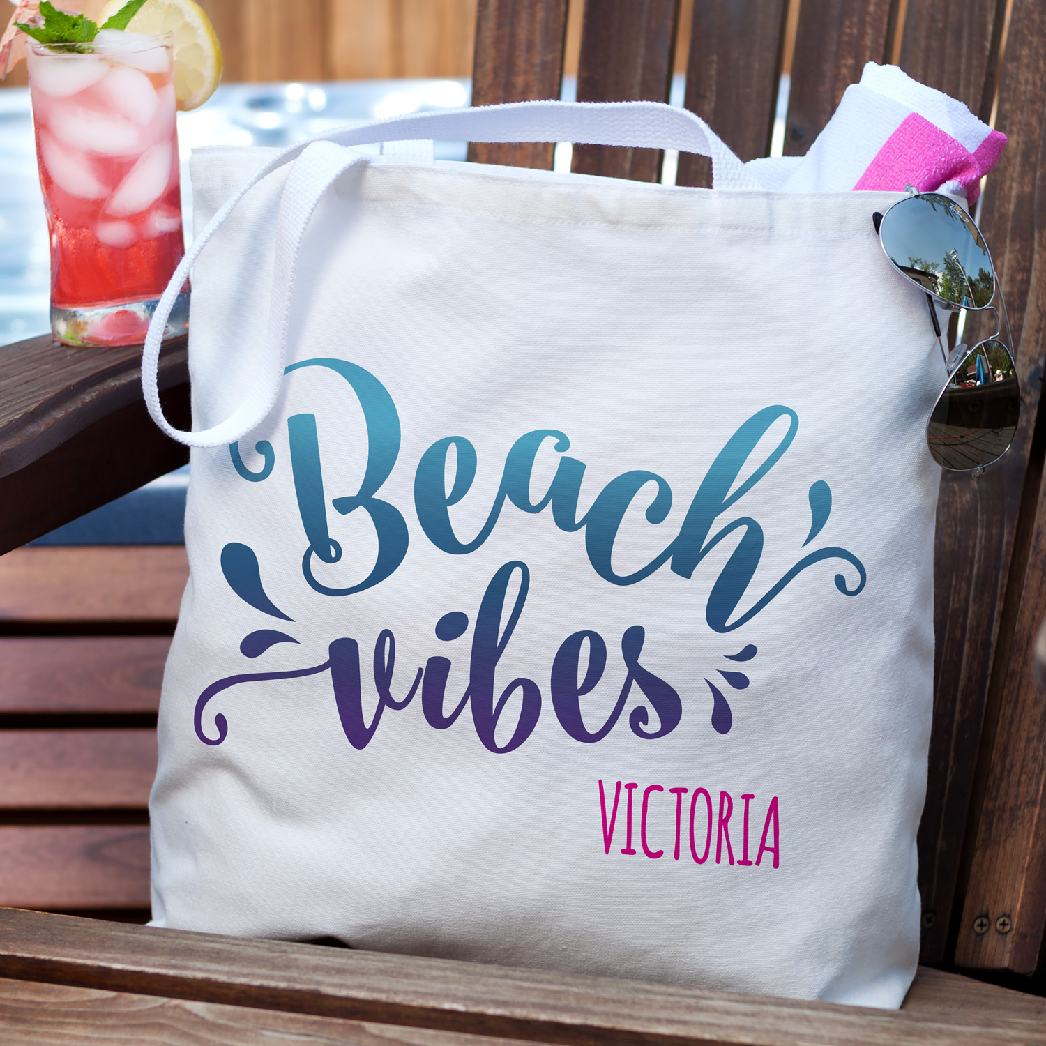 Personalized Beach Vibes Summer Tote Bag