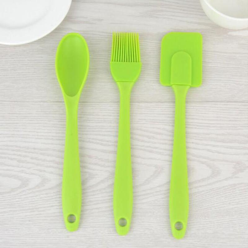 NICE 3Pcs Silicone Spatula Spoon Brushes Set Cooking Utensil Kits Heat