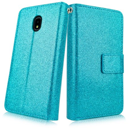 For Samsung Galaxy J7 2018 J7 Refine/ J7 Star/ J7V 2nd Gen. /J737 Design Wallet PU Kickstand Phone Credit Card Pouch Case Glitter Teal