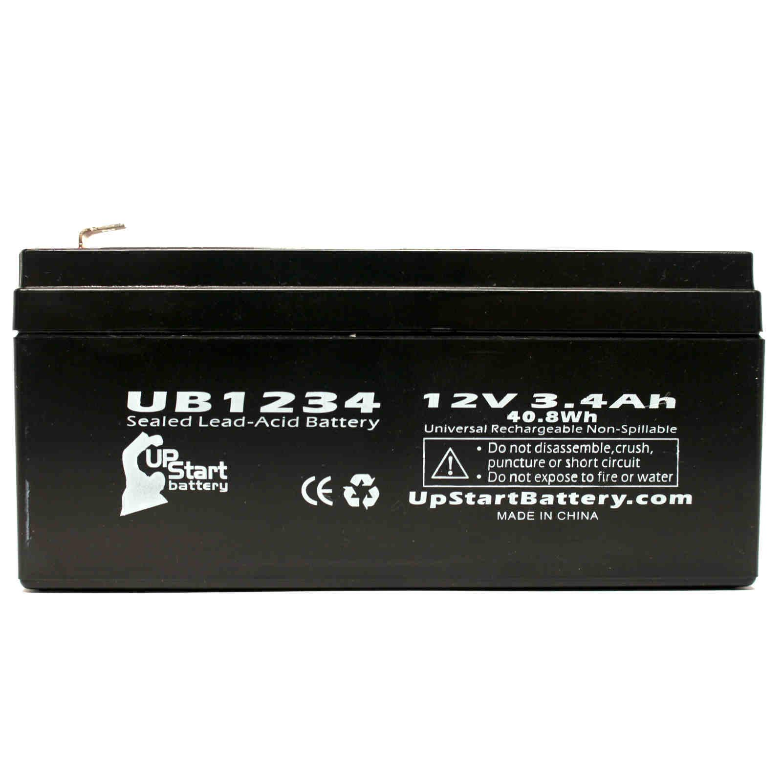 APC 35 Battery Replacement - UB1234 Universal Sealed Lead Acid Battery (12V, 3.4Ah, 3400mAh, F1 Terminal, AGM, SLA) - Includes TWO F1 to F2 Terminal Adapters - image 1 de 4