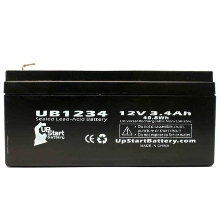 B & B Battery BP3.6-12 Battery Replacement - UB1234 Universal Sealed Lead Acid Battery (12V, 3.4Ah, 3400mAh, F1 Terminal, AGM, SLA) - Includes TWO F1 to F2 Terminal Adapters - image 1 de 4