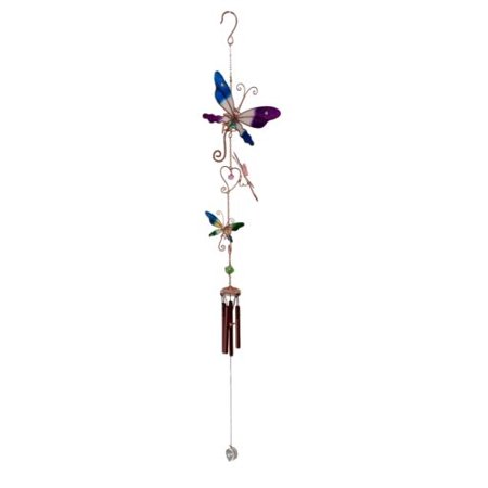 Ebros Gift Stained Glass Colorful Three Butterflies Copper Metal Wind Chime 28