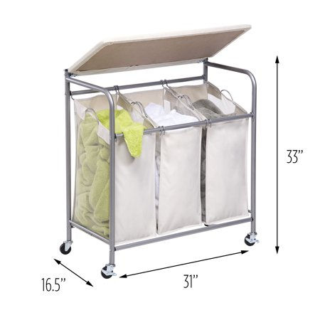 Honey Can Do Ironing Board and Laundry Sorter Combo, Beige ()