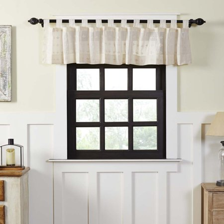 - Creme White Farmhouse Kitchen Curtains Willow Tab Top Cotton Embroidered Sheer Solid Color 16x72 Valance