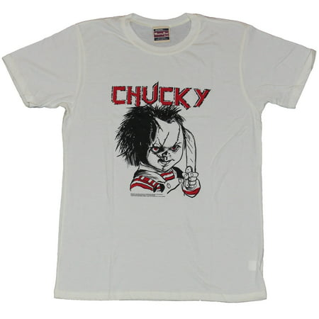 Child's Play Mens T-Shirt - Evil Chucky Posed With Knife Drawing Image (M And P Knife)