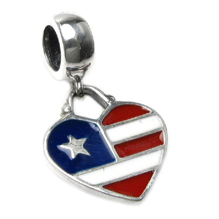 Queenberry Sterling Silver USA Flag Heart Enamel European Style Dangle Bead Charm Fits Pandora (Heart Flag Enamel Charm)