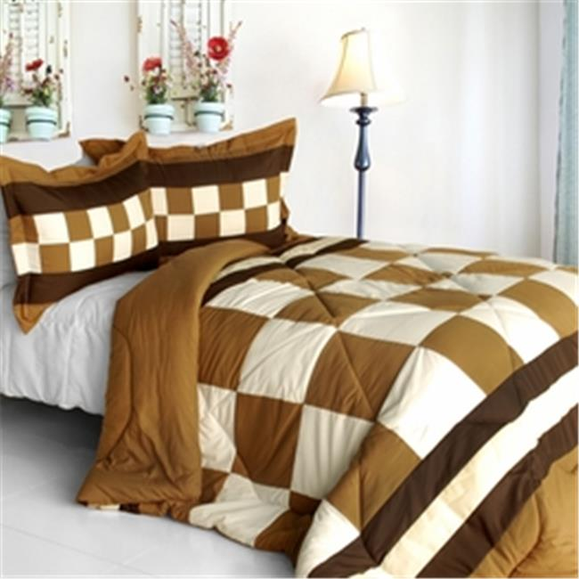 ONITIVA-CFT01026-23BRK-MPTP Happy Song - Quilted Patchwork Down Alternative Comforter Set  Full & Queen Size - Brown