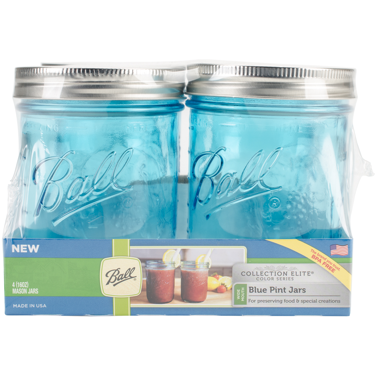 Ball (R) Wide Mouth Canning Jars 4 pkg-Pint Elite Color Series Blue by Loew-cornell