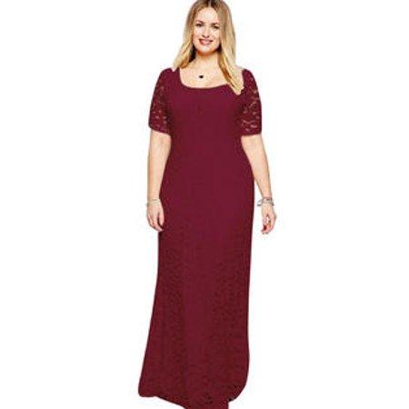 Women Back Zip Fastening Lace Long Plus Size Dress Red Wine (Red Wine Lace Dress)