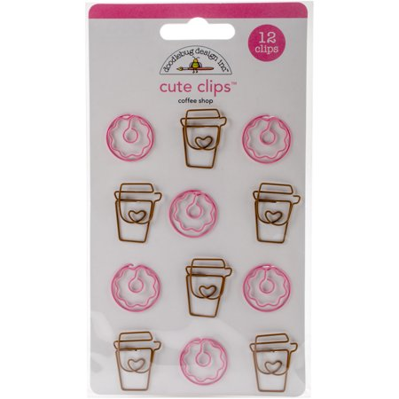 Doodlebug Cute Clips 12/Pkg Cream & Sugar Coffee Shop
