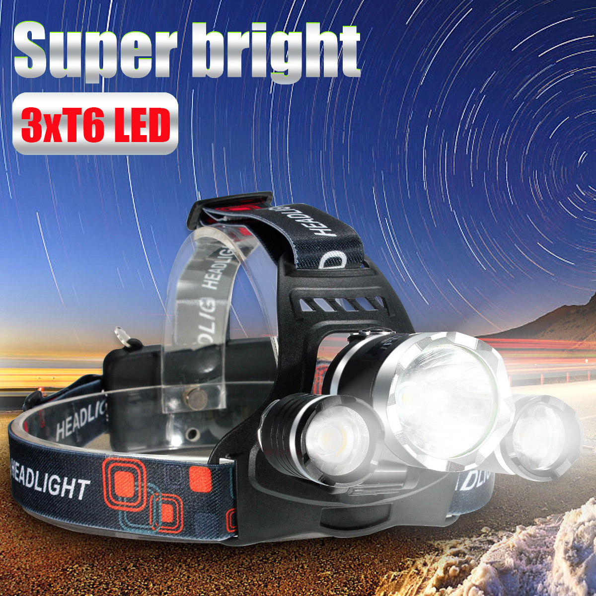 4500 Lumens 3x T6 LED Rechargeable Headlight Headlamp Flashlight Torch Waterproof 4Modes For Camping Fishing (Just Headlamps)