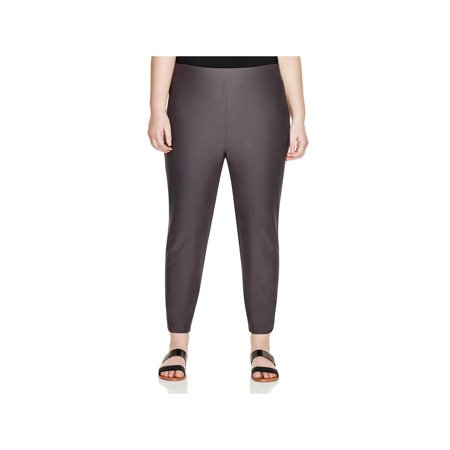 Eileen Fisher Womens Plus Slim Fit Crepe Ankle Pants
