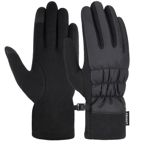 Vbiger Women Gloves Thickened Cold Weather Gloves Touch Screen Gloves, Black,