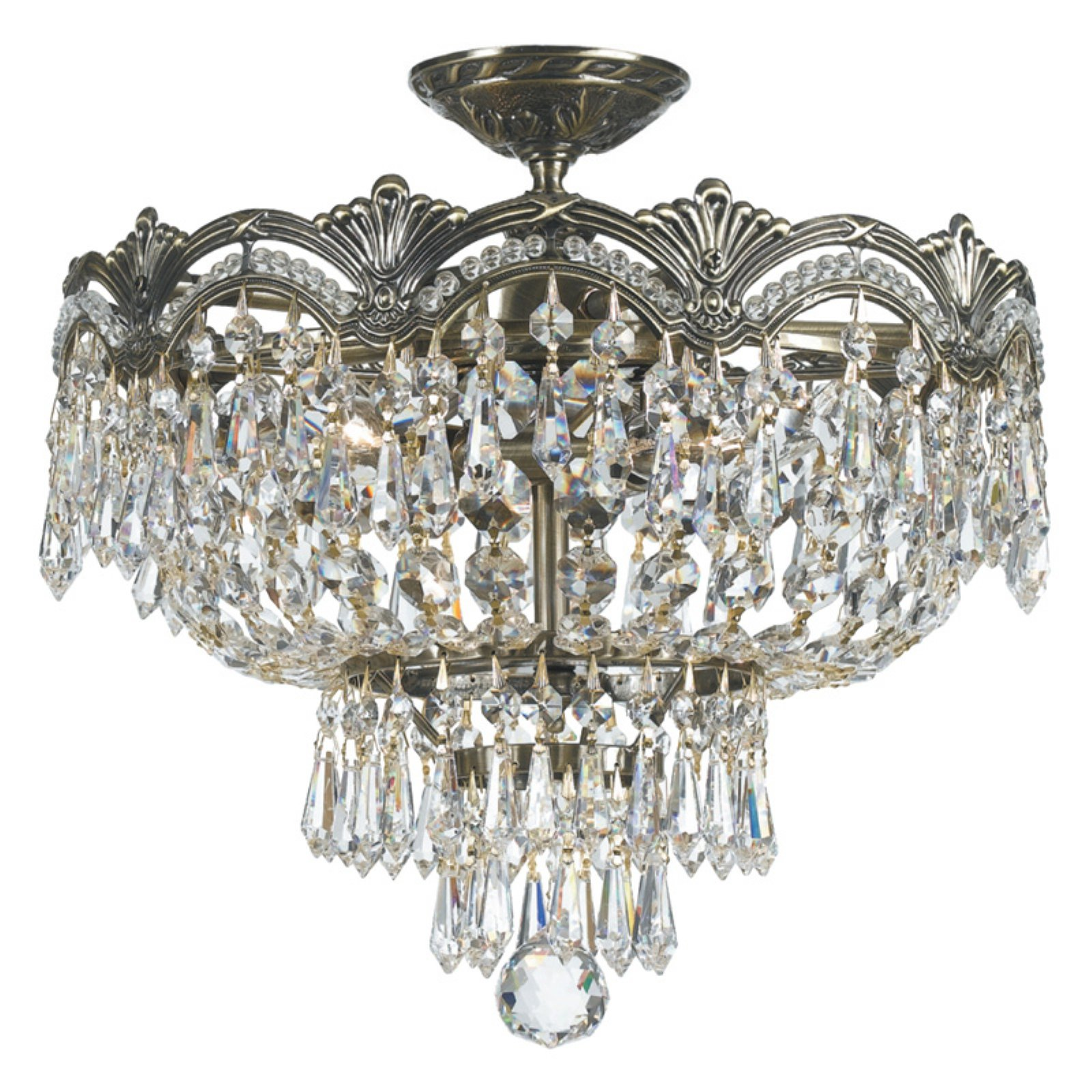 Crystorama 1483-HB-CL-MWP Majestic Crystal Semi-Flush Mount Light 14W in. by Crystorama