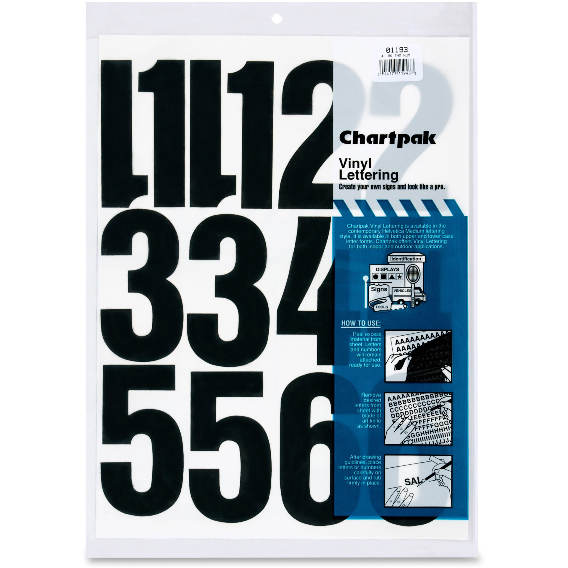 "Chartpak Press-On Vinyl Numbers, Self Adhesive, Black, 4""h, 23/Pack"