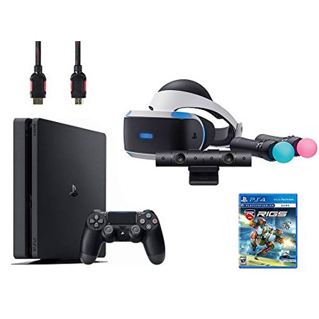 PlayStation VR Start Bundle 5 Items:VR Headset,Move Controller,PlayStation Camera Motion Sensor,Sony PS4 Slim 1TB Console - Jet Black,VR Game Disc RIGS Mechanized Combat