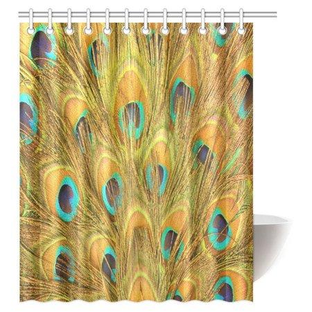 MYPOP Peacock Shower Curtain, Macro Peacock Tail Feather Like Third Eyes Vitality New Life Path Awakening Print Decorative Bathroom Shower Curtain Set with Hooks, 60 X 72 -