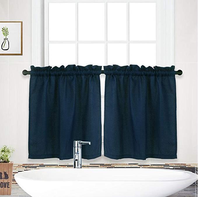 Waffle Kitchen Tier Curtains Short, Kitchen And Bathroom Window Curtains