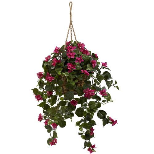 Nearly Natural Bougainvillea Silk Hanging Basket