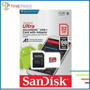 SanDisk 32GB Ultra MicroSDHC UHS-I Memory Card with Adapter - 98MB/s, C10, U1, Full HD, A1, Micro SD Card - SDSQUAR-032G-GN6MA