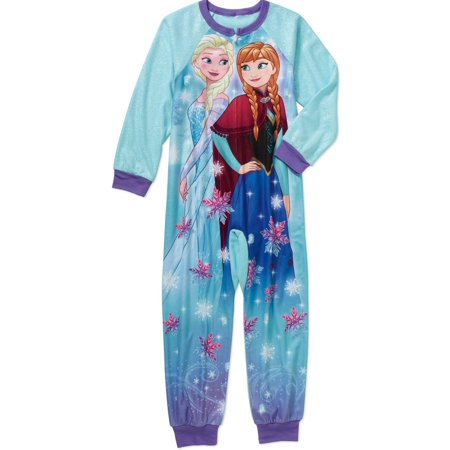 Disney Frozen Princess Anna & Elsa Girls' Blanket Sleeper Pajamas, Blue, Size: 6/6x ()