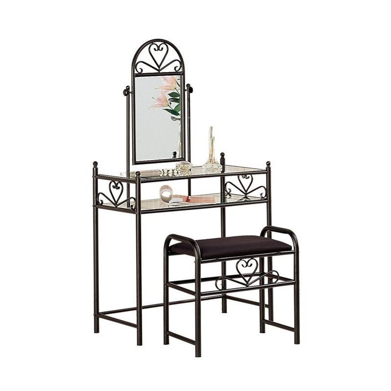 Coaster Vanity and Vanity Stool In Black Finish 2432 by Coaster