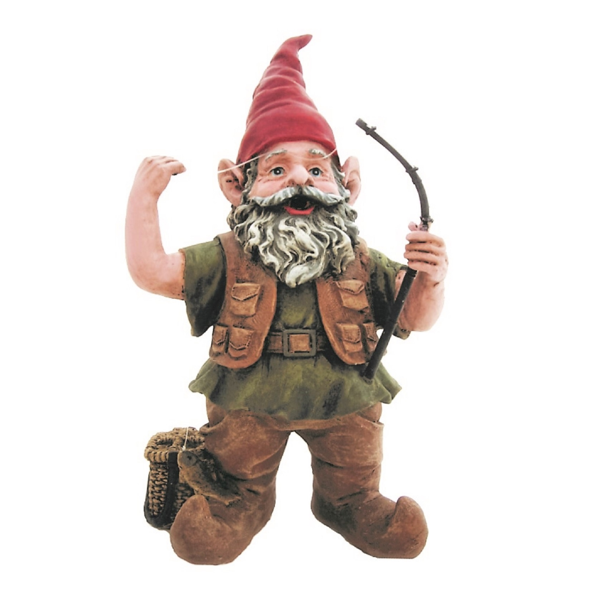 "Nowaday Gnomes Fisherman Gnome Holding Fishing Pole Home & Garden Gnome Statue 14""H by GSI Homestyles"