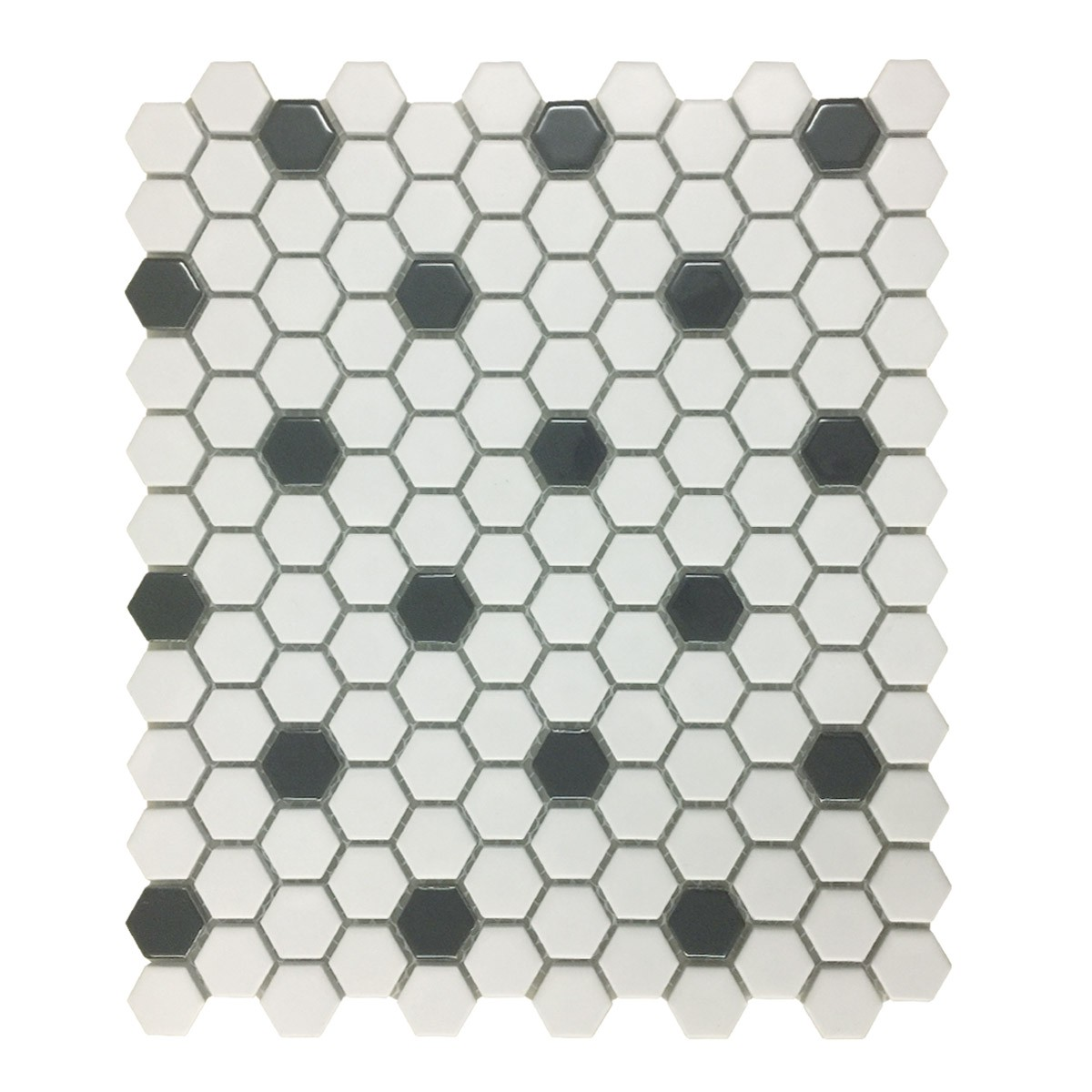 "Mosaic Hexagon Matte White and Black Tile 23 Sheets 10.25"" x 11.8"" 19.3 SQFT"