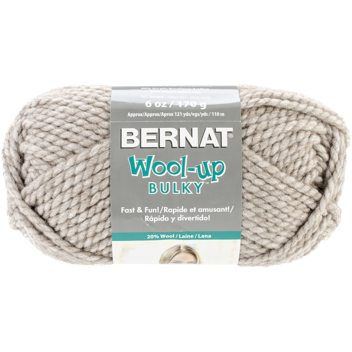 Spinrite Wool-Up Bulky Yarn, Taupe Multi-Colored