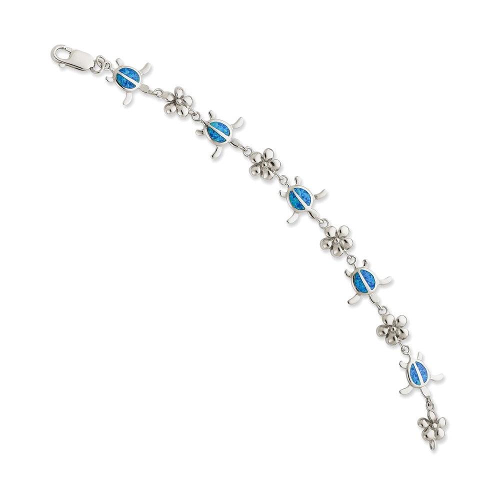 Sterling Silver 7in Created Blue Opal Inlay Tortoise w  Flower Bracelet Length 7 by