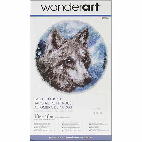 Caron Wonderart Latch Hook Kit 18  Round - Snow Wolf