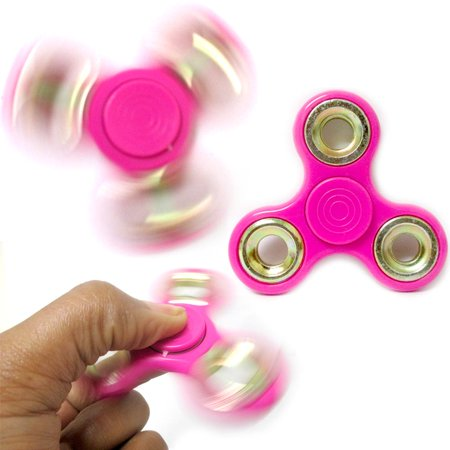 3 Pink Fidget Spinner Gold Rim Toy EDC Hand Finger Desk Focus ADHD Kids Adults